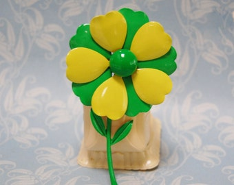 1960s Enamel Flower Brooch Large Vintage Lime Green Mod Groovy