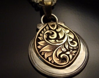 Art Nouveau Hand Engraved Silver And 14 k Gold Necklace With Natural Diamond