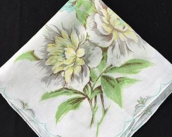 Vintage Gray and Yellow Floral Print Ladies' Hankie/Handkerchief