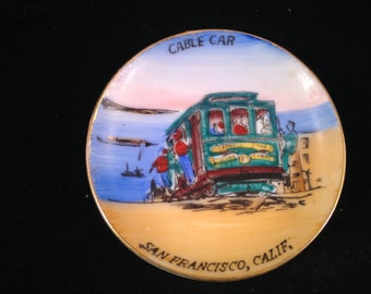 Vintage Souvenir China Small Hand Painted Plate of Cable Car in San Francisco California