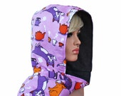 Scoodie Hooded Scarf Bright Lavender Purple with Cats Flannel and Fleece