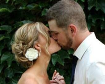 Weddings White Hair Flower, Bridal Hair Piece Bridal Head piece (includes 1 hair pin) White or Ivory Wedding Hair flower Clip