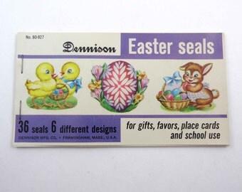 Vintage Dennison Easter Gummed Seals Stickers or Labels in Original Booklet Set of 35