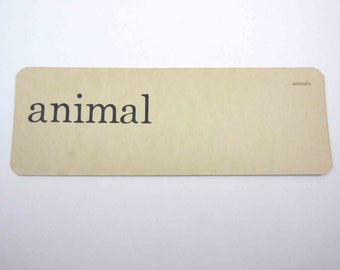 Vintage 1950s Children's Ivory School Flash Card with Word for Animal by Scott, Foresman and Co.