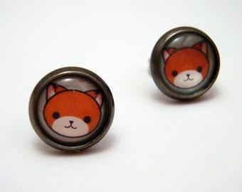 Kawaii Kitty Studs - Tiny orange tabby cat post earrings SMALL - Anime Inspired