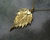 Real Leaf Pendant Necklace Jewelry - Rose - 24k Gold