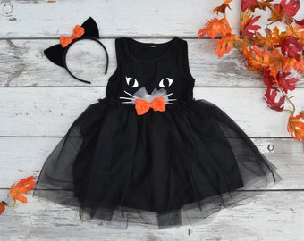 Black Cat Tutu Dress Halloween Costume Kitty Ears Headband Tulle Girls 2t 3t 4t 5 6