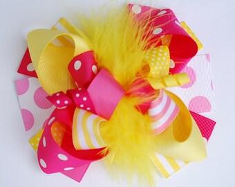 boutique FUNKY fun PINK LEMONAIDE hair bow clip