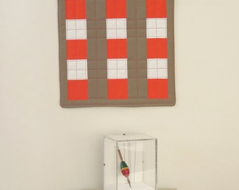 Modern Mini - quilted fabric wall hanging - one of a kind - Checker