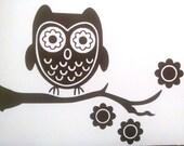 Flowery OWL on branch vinyl decal