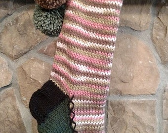 Old Fashioned Hand Knit Christmas Stocking Pink Camouflage with White Snowflakes on Dark Sage Green border