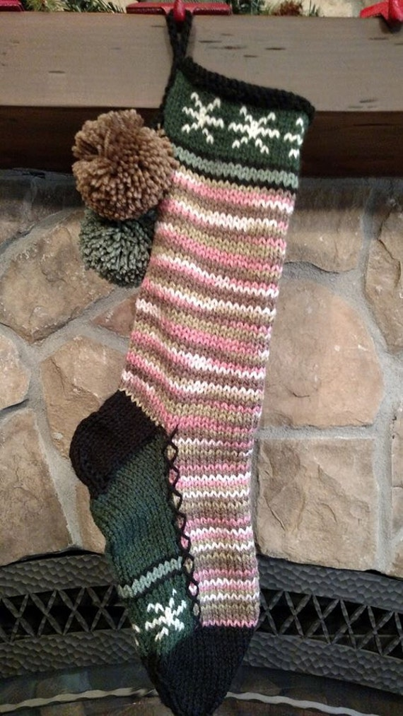 Old fashioned hand knit christmas stocking pink camouflage for Fashion christmas stockings