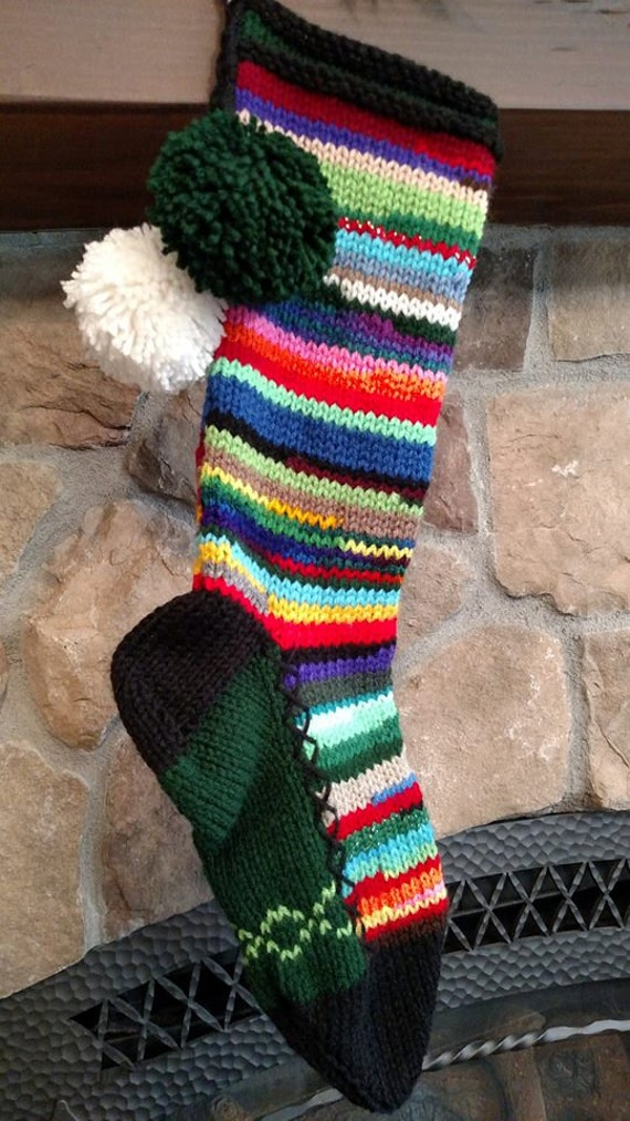 Old Fashioned Hand Knit Multi Color Rag Series Christmas Stocking with Lime Chain Link Detail on Hunter Green