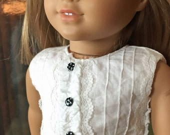 18 inch Doll Clothes Pintuck Blouse and Polka Dot Skirt Outfit, fits American Girl
