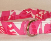 """Handcrafted Lilly Pulitzer Summer 2014 Capri Pink """"I'm Game"""" Fabric Dog Collar- All Sizes- Free Shipping"""