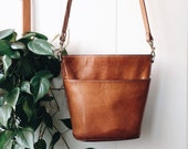 Bass Leather Bucket Bag - vintage, cross body,  pocketbook