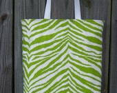CLOSEOUT SALE Lime Green Zebra tote bag purse carryall