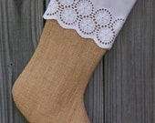 Lace Burlap Christmas Stocking Eyelet Farmhouse Country Personalized  208