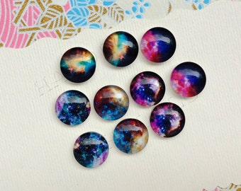10pcs handmade assorted nebula galaxy round clear glass dome cabochons / Wooden earring stud 12mm (12-9749)