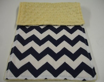Navy Chevron with Banana Yellow Minky Baby Burp Cloth READY TO SHIP