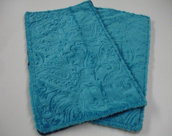 Dark Turquoise Paisley Double Sided with Navy and Gray Minky Burp Cloth Set On Sale