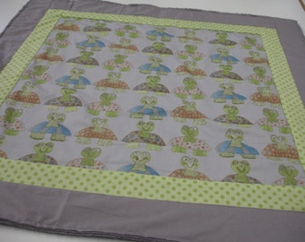 Long Neck Turtles Baby Minky Blanket and Matching Pillow Cover  29 x 29 READY TO SHIP On Sale