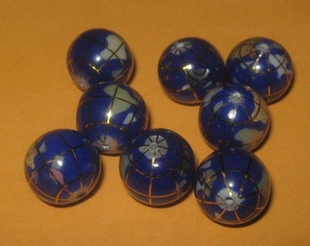 Wholesale Lot Of 8- 10MM Lapis Color  Intarsia Gemstone Inlay World GLOBE BEADS