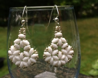 White Beadweave Earrings