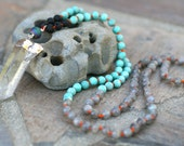 Labradorite and Amazonite Gemstone Hand Knotted Necklace, Raw Crystal Quartz Pendant, 108 Japa Mala, Beaded Boho, Handmade Jewelry