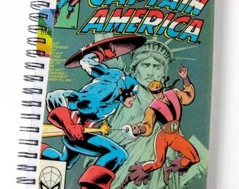 Captain America Journal & Sketchbook // Recycled Vintage Comic // Avengers