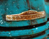 Old Blue Chevy Rusty Truck Grill with snowflakes photograph 5x7 wall art New Mexico antique pickup Print