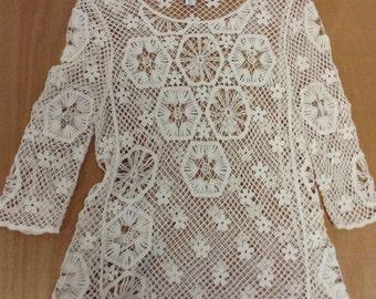 Crochet Boho Chic Ecru Lace Doily Top L/XL