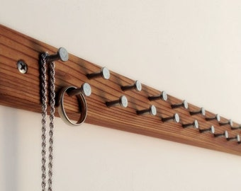 Ring / Necklace Bar in Modern Dark Wood