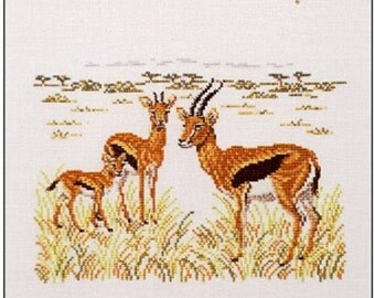Cross Stitch Pattern, Gazelle Counted Cross Stitch Pattern, by Permin of Copenhagen, Wild Life, WI