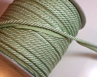 Light Green Lip Cord, Pale Jade Green Braided Lip Cord Trim 3/16 inch x 3 yards, DecoPro 0316S G12