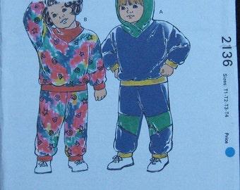 Kwik Sew Toddlers Jogging Suit Pattern 2136