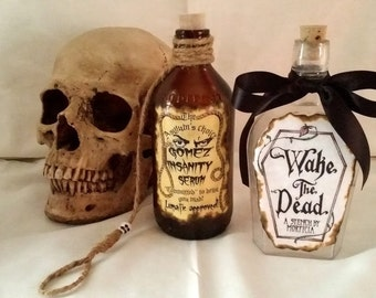 MORTICIA and GOMEZ potion poison bottle props ADDAMS Family Halloween alchemy