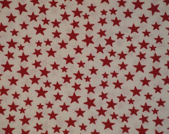 Scattered Star Fabric | White With Red Star Fabric | Quilt Fabric | Home Decor Fabric | Apparel Fabric | Americana Fabric | 1 Yard