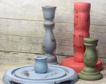 Rustic Decor Wood Candle Holder Blue Gray Green Pink Set of 4 Boho Beachy Shabby Chic