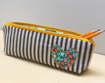 back to school pencil retro pencil pouch case school supplies in vintage floral heart