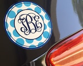 Monogram car magnet, preppy polka dot monogrammed car accessory, 4 inch round personalized car magnet