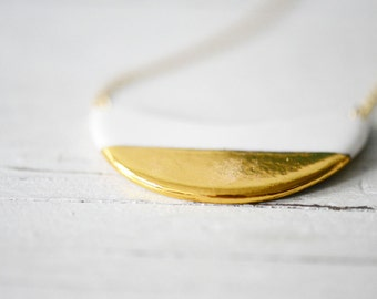 22k Gold Dipped Wave - White, Porcelain Jewelry, Ceramic jewelry, minimalist jewelry, gold jewelry - Porcelain and Stone