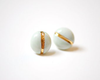 22k Gold Navigation Soft Turquoise - Stud Earrings, 14k gold filled posts, Sensitive Ears
