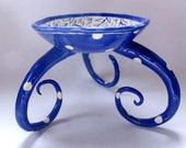 Delft Blue pottery Serving Bowl with legs :) big colorful polka-dots and hand painted floral, whimsical delphinium Home Decor