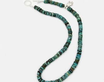 Turqouise Bead Necklace Blue Green Hand Accent (Free US Shipping)