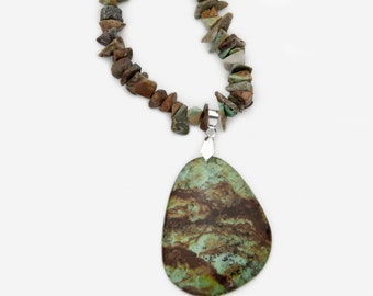 African Turquoise Southwestern Necklace Spiritual Wisdom Self Expression (Free US Shipping)