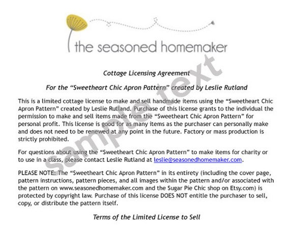 License to Sell: Sweetheart Chic Apron Pattern