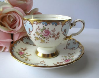 Vintage Coalport English Bone China Pink Rose Blue Teacup & Saucer