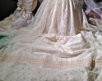 Heritage, Christening Gown, Cap, Bib , Booties and Personal Inscription.