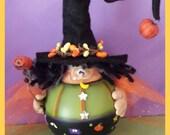 HALLOWEEN witch recycled light bulb pumpkin moon star treat bittersweet pip trick teamhaha hafair ofg prim chick lisa robinson KARMA